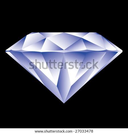 Beautiful diamond on black background - stock photo