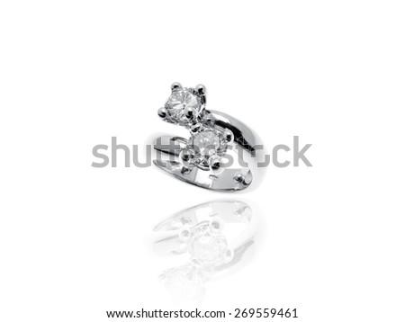 Beautiful 2 Diamonds Ring in platinum isolated on white background - stock photo