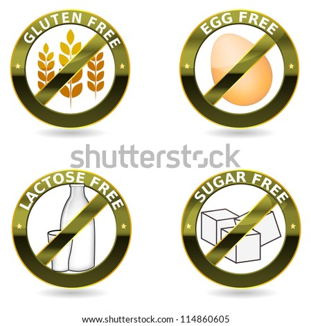 Beautiful diet icons. Gluten free, lactose free and egg free. Can be used as a stamp, emblem, seal, badge, on a packaging etc. Beautiful harmonic colors and elegant design. - stock photo
