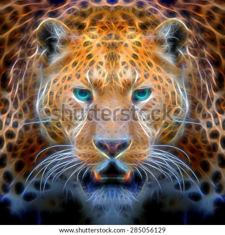 Beautiful digital drawing of a leopard on black background. Colorful abstract portrait of leopard face. illustration leopard.  abstract watercolor like leopard. leopard print on canvas - stock photo