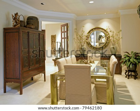 Beautiful Dining Room in Luxury Home - stock photo