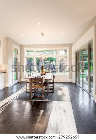 Beautiful Dining Room in New Modern Home - stock photo