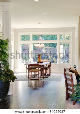 Beautiful Dining Room Interior in New Luxury Home - stock photo