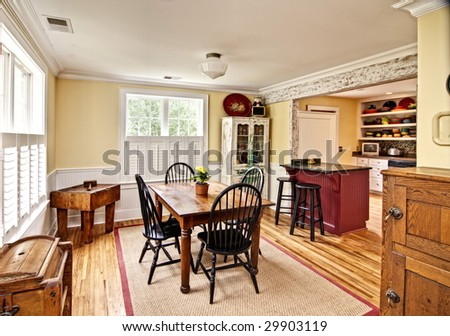 beautiful diningroom in eclectic style - stock photo