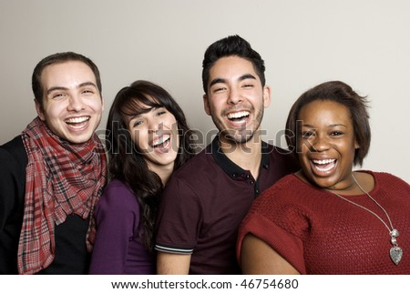 Beautiful Diverse Group of Friends laughing