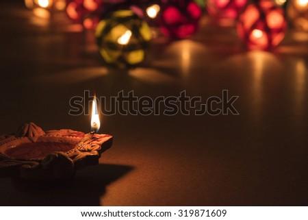 beautiful diwali lighting, selective focus - stock photo
