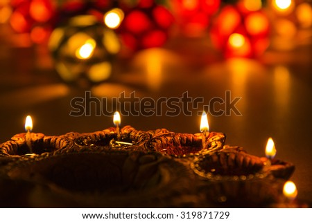 beautiful diwali lighting, selective focus - stock photo