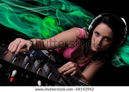 Beautiful DJ Girl Performing with Neon Smoke in the background
