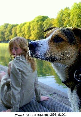 Beautiful dog and his girl