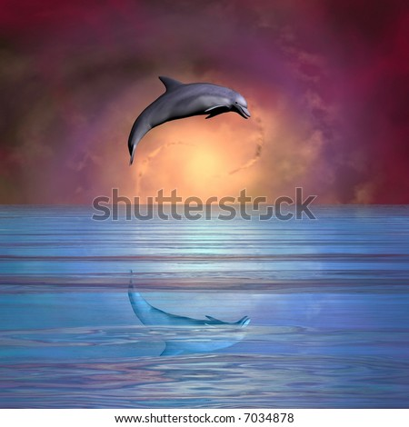 Beautiful dolphin leaping against spiral galaxy and nebula - stock photo