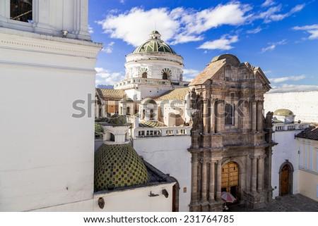 beautiful dome of La Compania church in Quito Ecuador South America - stock photo