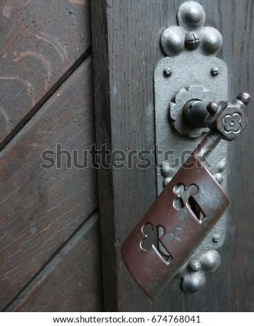 Beautiful Door Knob On Old European Style Wooden Door