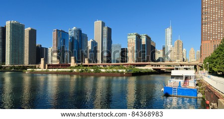 Beautiful downtown Chicago skyline from the shore of Lake Michigan in the early morning. - stock photo
