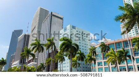 Beautiful Downtown Miami skyline at sunset, Florida.