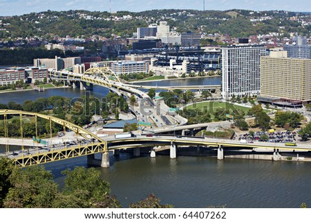 Beautiful downtown Pittsburgh, PA showing buildings, bridges and rivers - stock photo