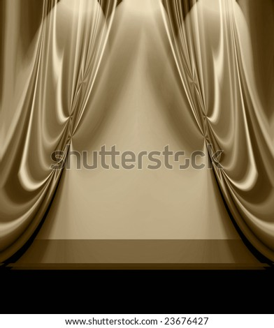 Beautiful Drapes On Empty Stage - stock photo