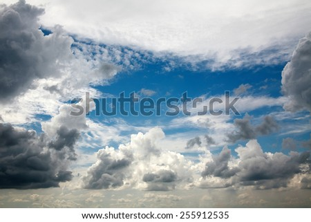 Beautiful dreamy scene of air clouds on blue sky background, beauty in nature - stock photo