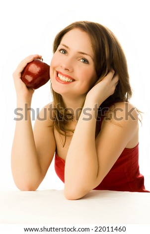 beautiful dreamy young woman with an apple isolated against white background - stock photo
