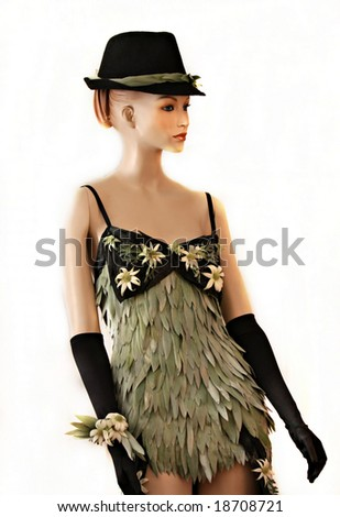 Beautiful dress made entirely from plants and flowers - isolated on white