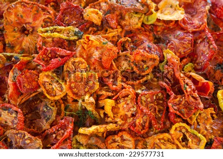 Beautiful dried tomatoes background - stock photo