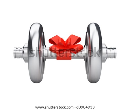 beautiful dumbbell gift with red ribbon - stock photo
