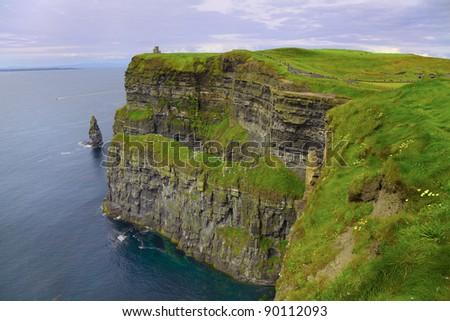 Beautiful dusk landscape of Cliffs of Moher in summer, Ireland. - stock photo