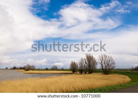 beautiful dutch landscape, IJsselmeer the Netherlands near Marken - stock photo