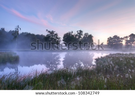 Beautiful Dutch landscape on an early morning with fog - stock photo