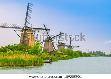 Beautiful dutch windmill landscape at Kinderdijk in the Netherlands  - stock photo