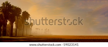 Beautiful Early Morning Image of the venice Boardwalk, Los Angeles - stock photo