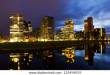 Beautiful early morning view on the office buildings in the south of Amsterdam, the Netherlands - stock photo