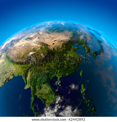 Beautiful Earth - East Asia from space - stock photo