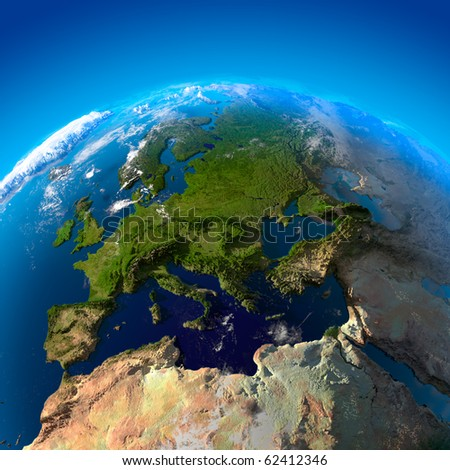 Beautiful Earth - Europe from space - stock photo