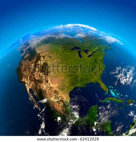 Beautiful Earth - North America from space - stock photo