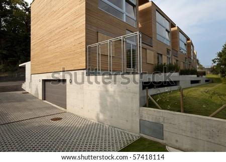 beautiful ecologic house, outdoors - stock photo