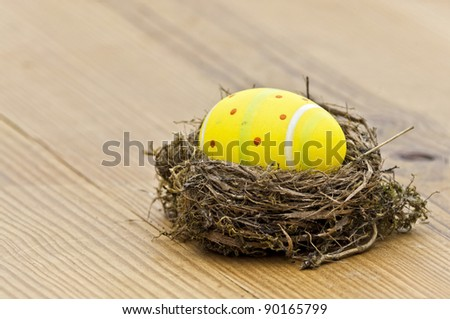 Beautiful eggs in the nest in wood background