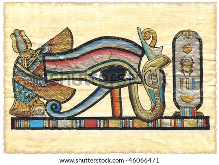 Beautiful egyptian papyrus with elements of ceremonial ornament - stock photo