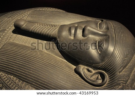 beautiful egyptian sarcophagus for a man made from black granite