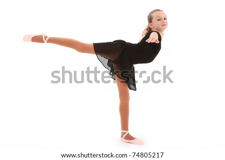 Beautiful eight year old caucasian girl ballerina dancer with clipping path over white. - stock photo