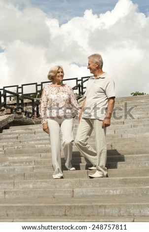 Beautiful elderly couple went for a walk around the city together - stock photo