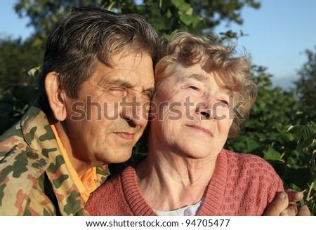 Beautiful elderly happy couple - stock photo