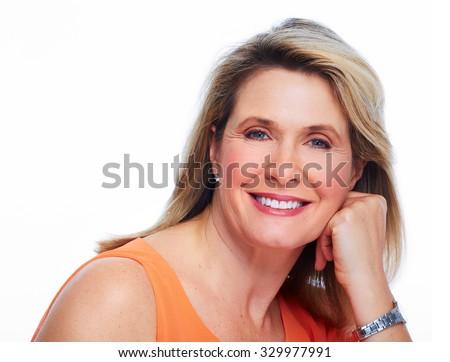 Beautiful elderly lady portrait. Isolated on white background. - stock photo