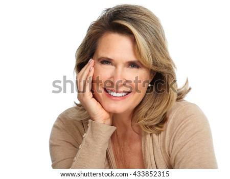 Beautiful elderly woman portrait. - stock photo