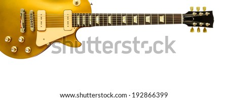 Beautiful electric guitar isolated on white background. - stock photo