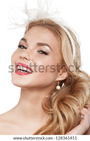 Beautiful elegance bride with beauty wedding coiffure - stock photo