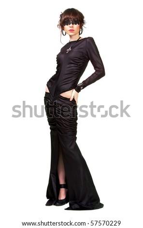 Beautiful elegant brunette in a long black dress - stock photo
