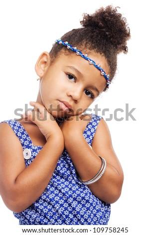 Beautiful elegant little girl in stylish clothing - stock photo
