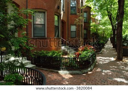 Beautiful, elegant residential district in Boston, Massachusetts - stock photo