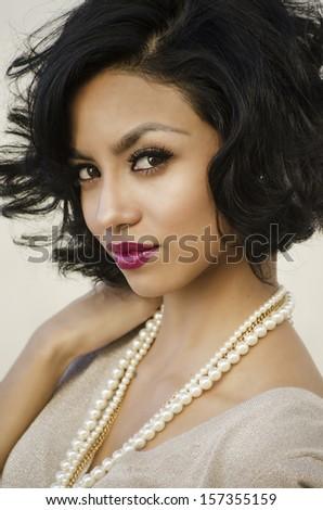 Beautiful elegant young woman  - stock photo