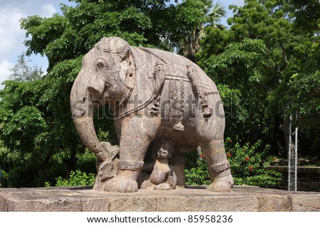 Beautiful elephant sculpture, sun temple Konark - stock photo